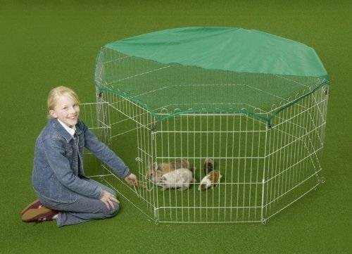Outdoor Octagon Rabbit Run Cage Pen with Sun Protection Net Cover, 55-inch