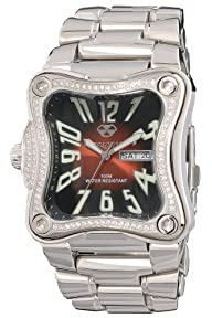 REACTOR Midsize 92011 Flux Diamond Dark Red Dial Stainless Steel Watch