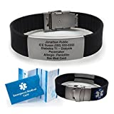 Black Silicone Sport Medical Alert ID Bracelet. Incl. 6 lines of personalized engraving.