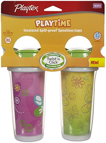 Playtex Insulator/Playtime Cup, 9 Ounce, Butterflies Theme, 2 Pack