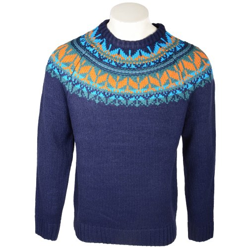 Fletcher & Lowe Men's Navy Fairisle Yoke Detail Crew Jumper In Size Medium