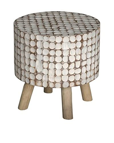 Jeffan New Hampton Hula Round Stool, White Patina