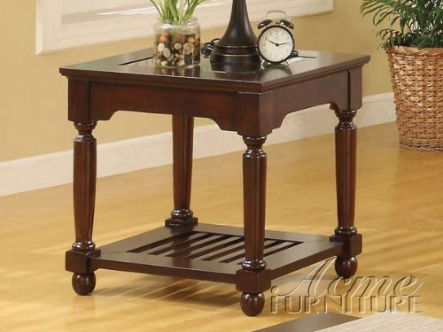 Cheap Beautiful End Table in Espresso w/ Beveled Glass Top ACS106222 (B004U2FO9G)