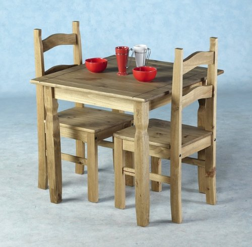 WorldStores 2 Seat Pine Table And Matching Chairs Kitchen