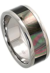 8mm Flat Titanium Wedding Band Mother of Pearl Inlay Ring Comfort Fit, sizes 8 to 12