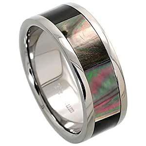 Titanium 8mm Wedding Band Ring Mother of Pearl Inlay Flat Comfort Fit, size 8