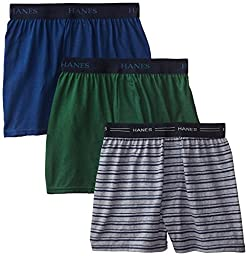Hanes Big Boys\'  Knit Boxer With Exposed Waistband,Assorted, X-Large(Pack of 3)