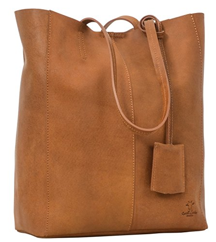 Gusti Leder studio borsa shopping per acquisti passeggio da donna a spalla in vera pelle di bovino marrone 2H51-33-1