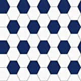 Lilleby 2683 Non-Woven Wallpaper Shiny / Dark Blue / White with Football Design