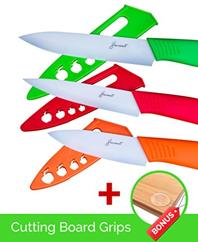 3 Piece Ceramic Knife Set With Blade Covers + Bonus Cutting Board Grips - Great Safe Kitchen Cutting Knives - Colors Red, Orange, Green - Best Vegetable, Utlility, Pairing Knives by Star Infiniti (Kitchen Cutting Board Cover compare prices)