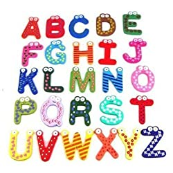 Funky Fun Colorful Magnetic Letters A-Z Wooden Fridge Magnets Kid toys Education