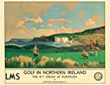 Golf In Northern Ireland, The 8th Green at Portrush, Irish Travel Art Poster by Norman Wilkinson