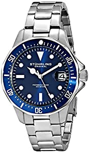 Stuhrling Original Men's 664.02 Aquadiver Quartz Blue Dial Date Diver Watch