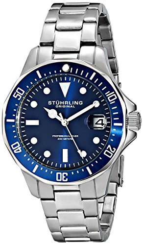 Stuhrling Original Aquadiver Mens Dive Watch – Quartz Analog Waterproof Sports Watch – Blue Dial Date Display Swim Wrist Watch for Men – Luminous Waterproof Watch with Stainless Steel Bracelet 664.02