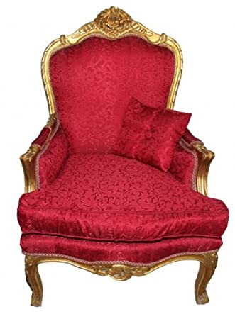 Casa Padrino Baroque Armchair Red Pattern / Gold - Antique style furniture