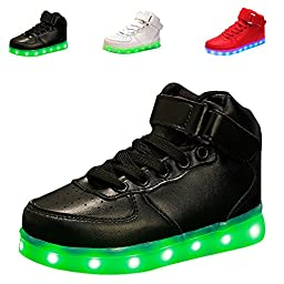 CIOR Kids Boy and Girl\'s High Top 7 Color Led Sneakers Light Up Flashing Shoes,,TXGB05,Black28