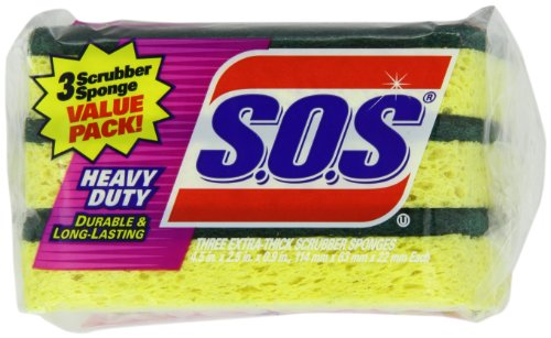 Clorox 91029 S.O.S Heavy-Duty Scrubber Sponge 3-Pack (Case of 8) (Sponge Scrubber Heavy Duty compare prices)