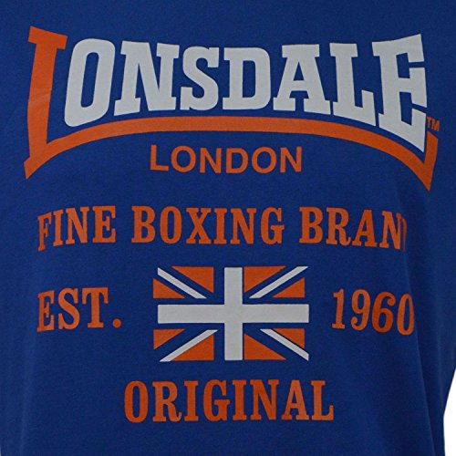 T-Shirt MM Lonsdale London Uomo Jersey Slub 100% Cotone Royal con Stampa-L
