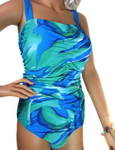 Ladies Sea Green and Blue Tummy Control Swimsuit Swimming Costume Bathing Suits Swimwear for women in plus sizes