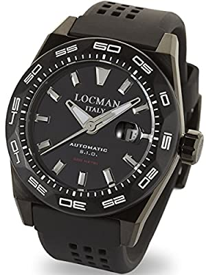 Locman Stealth 300 Meter Automatic Dive Watch with 46mm Black PVD Case 215BKPVBKSTBKR
