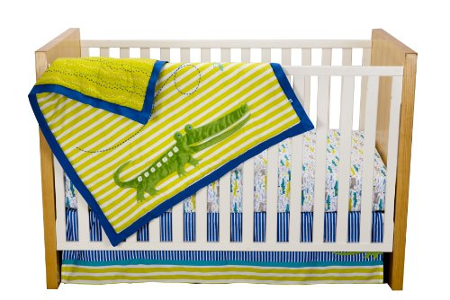 Zutano Crib Set, Alligators, 4 Piece