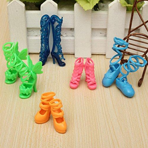 Frontier Mescolare moda 5 paia diverse scarpe stivali per bambola barbie
