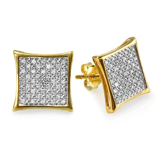 0.25 Carat (ctw) 18k Gold Plated Sterling Silver Round Diamond Two Tone Stud Kite Shaped Micro Pave Earrings 1/4 CT