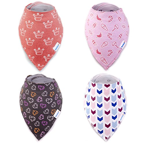 Baby Girl Bandana Bib by Bambinio - Set of 4 High Absorption Bandana Drool Bibs for Girls - Adjustable Size Baby Dribble Bibs - Nickel-Free Snap Closure - Best Newborn Baby Girl Gift (Personalized Newborn Girl compare prices)