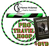Adult Weighted Hula Hoop (Black/UV Green) Large Travel Hula Hoops For Dance, Fitness & Exercise + Hooping DVD