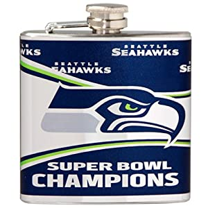 NFL Seattle Seahawks Super Bowl Champ Hip Flask with 360 Metallic Wrap, 6-Ounce by Great American Products