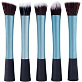 Vvhome 5 Pcs Real Techniques Foundation Makeup Brush Sets (Blue)