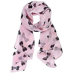 eFuture(TM) Pink Elegant Big Pink Bowknot Print 100% Chiffon Cut Soft Warm Long Scarf Wrap Shawl +eFuture's nice Keyring