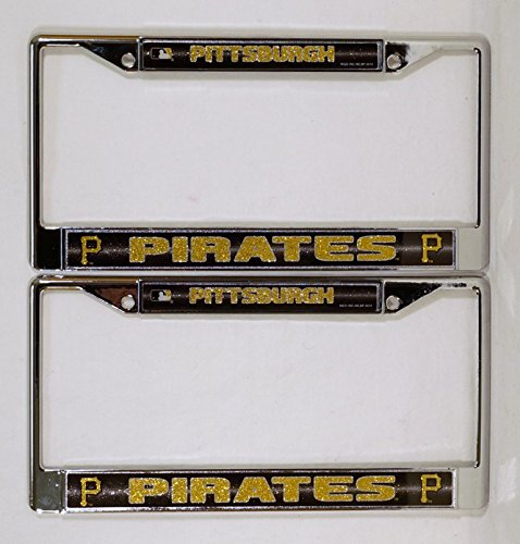 Pittsburgh Pirates Chrome Metal (2) Bling License Plate Frame Set