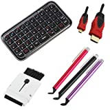 BIRUGEAR Bluetooth Wireless Mini Keyboard + 3 Stylus with Flat Tip (Black / Purple /Red) + 15FT Micro HDMI Cable + Mini Brush for Google Nexus 10 ; Microsoft Surface 2, Surface with Windows RT ; Nokia Lumia 2520 ; Sony Vaio Tap 11 ; Dell Venue 11 Pro and