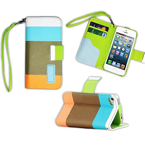 Mylife (Tm) Dark Green + Light Orange And Baby Blue Stripes {Modern Design} Faux Leather (Card, Cash And Id Holder + Magnetic Closing + Hand Strap) Slim Wallet For The Iphone 5C Smartphone By Apple (External Textured Synthetic Leather With Magnetic Clip +