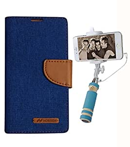 Aart Fancy Wallet Dairy Jeans Flip Case Cover for MotorolaMotoE (Blue) + Mini Fashionable Selfie Stick Compatible for all Mobiles Phones By Aart Store