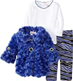Little Lass Baby-Girls Newborn 3 Piece Curly Faux Fur Jacket Set
