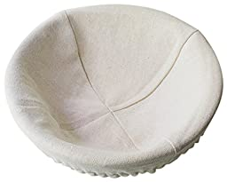 Bread Experience 8 Inch Round Banneton Proofing Bread Basket, Cotton Liner, Instruction Card