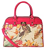 Diophy Womens PU Leather Floral Print Front Lock Decoration Dual Compartments Doctor-style Handbag (Fuchsia)
