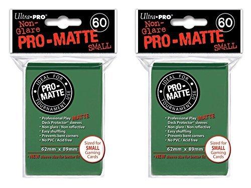 120 Ultra Pro Green SMALL PRO-MATTE Deck Protectors Sleeves Colors Yugioh Vanguard [2 Packs of 60]