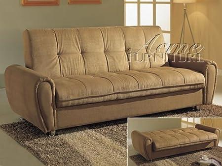 Adjustable Futon Sofa with Storage in Tan Microfiber