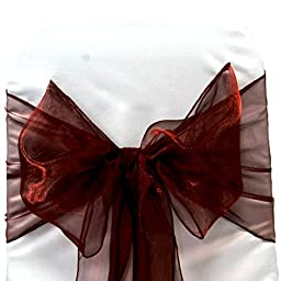 100 Burgandy Organza Chair Sashes Bow Wedding and Events Supplies Party Decoration