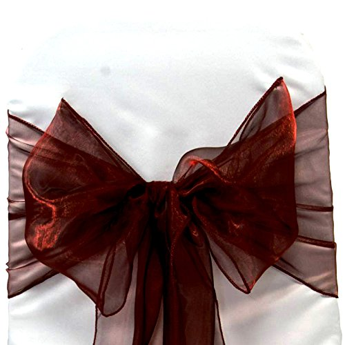 MDS Pack of 25 organza chair sash bow sashes For wedding and Events Supplies Party Decoration chair cover sash -burgundy