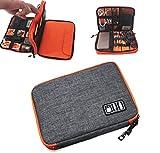 hirowood トラベルポーチ 充電器ポーチ PC周辺機器 ポータブル機器 ガジェット 小物 収納 バッグ キャリングケース スマートフォン iPad ケーブル バッテリー ACアダプタ 持ち運び バッグインバック