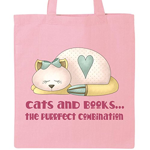 Inktastic Purrfect Cats and Books Tote Bag Pink