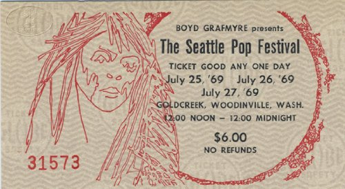 The Doors Led Zeppelin 1969 Seattle Pop Concert Ticket Ike Tina Turner Spirit
