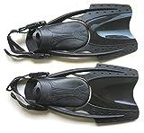 【ease】ストラップフィン 足ひれ シュノーケリング用 Mサイズ 25㎝~ Lサイズ 26.5cm~ 黒