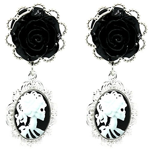 Soscene Black Acrylic Rose with Dangle Cameo Picture Stainless Steel Ear Gauges Plugs Sold in Pairs (6 mm-2 gauge) (Cameo Ear Plugs compare prices)