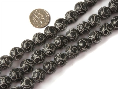 Sweet & Happy Girl'S Store 12Mm Round Carved Vintage Gemstone Black Hua Show Jade Beads Strands 15