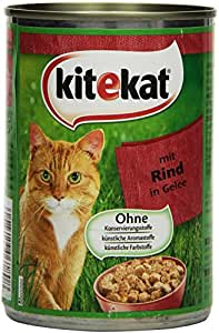 Kitekat Katzenfutter Rind in Gelee, 12 Dosen (12 x 400 g)